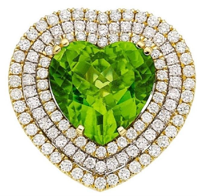 GIA 12.54CT NATURAL BURMA PERIDOT 18K WHITE AND YELLOW