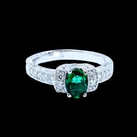 0.74ct Emerald 14K White Gold Ring