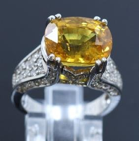 10.12ct Yellow Sapphire 14K White Gold Ring