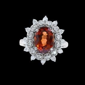 4.25CT NATURAL MALAYA GARNET 14K White GOLD RING