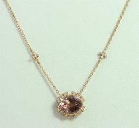 14K ROSE GOLD PENDANT WITH CHAIN 4g/Diamond 0.32ct/PINK