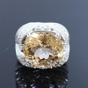 19.50ct Natural Tourmaline 18K White Gold Ring