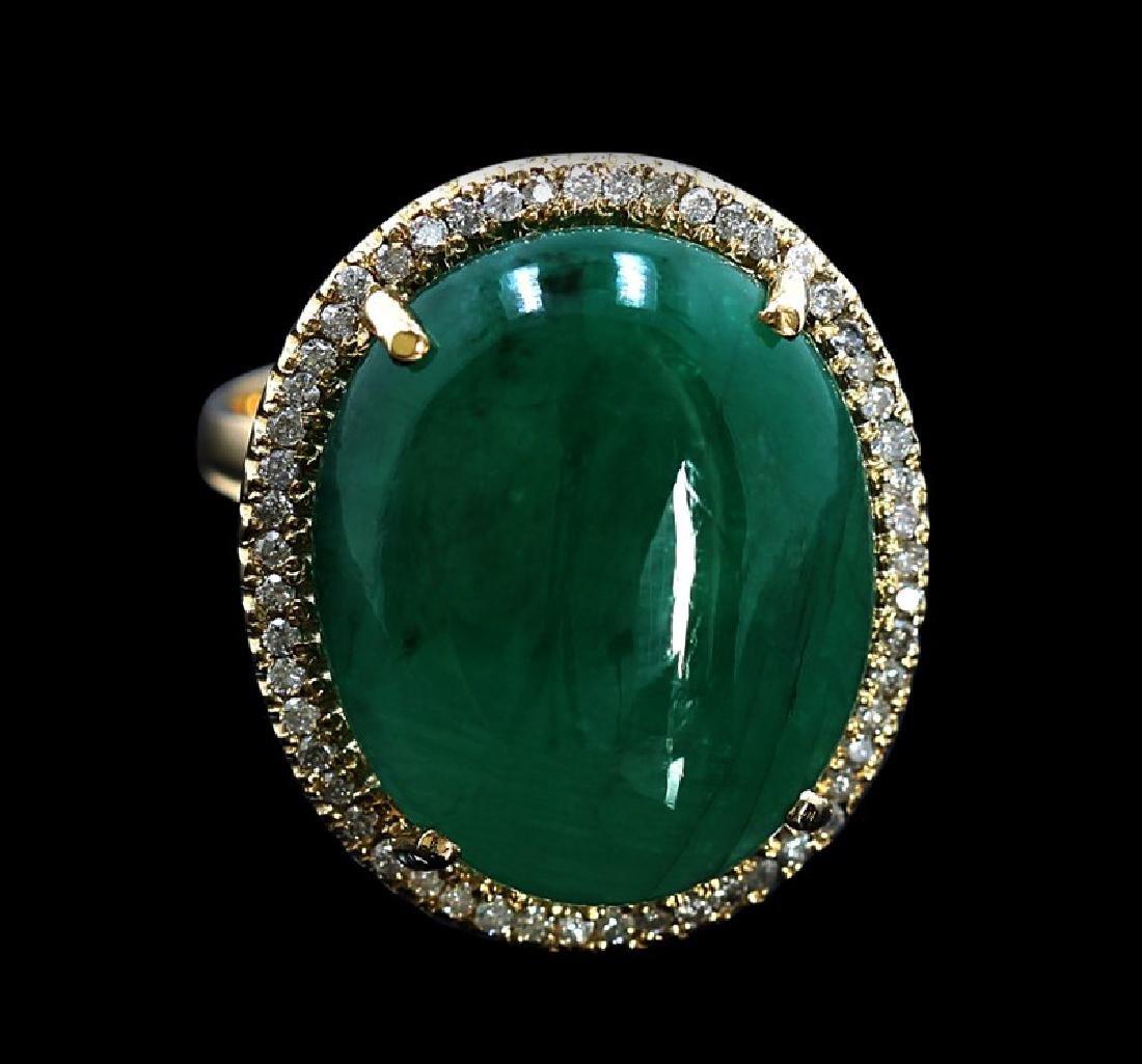 21.04ct Emerald 14K White Gold Ring