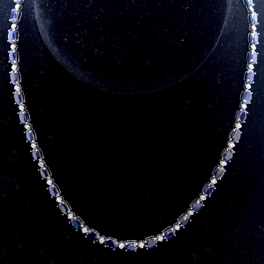 42.17ct Blue Sapphire 14K White Gold Necklace