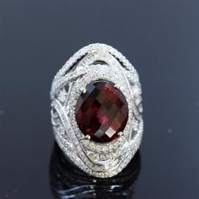 13.13ct Natural Malaya Garnet 18k White Gold Ring