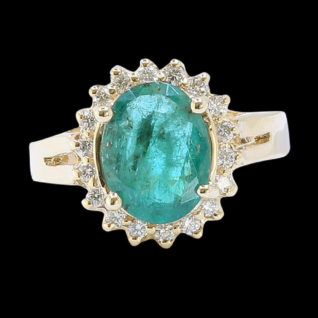 7.07CT NATURAL COLUMBIAN EMERALD 14K Y/G RING