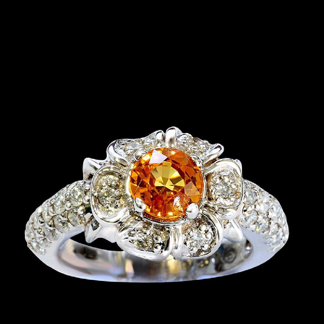 1.23CT NATURAL CEYLON YELLOW SAPPHIRE 14K WHITE GOLD