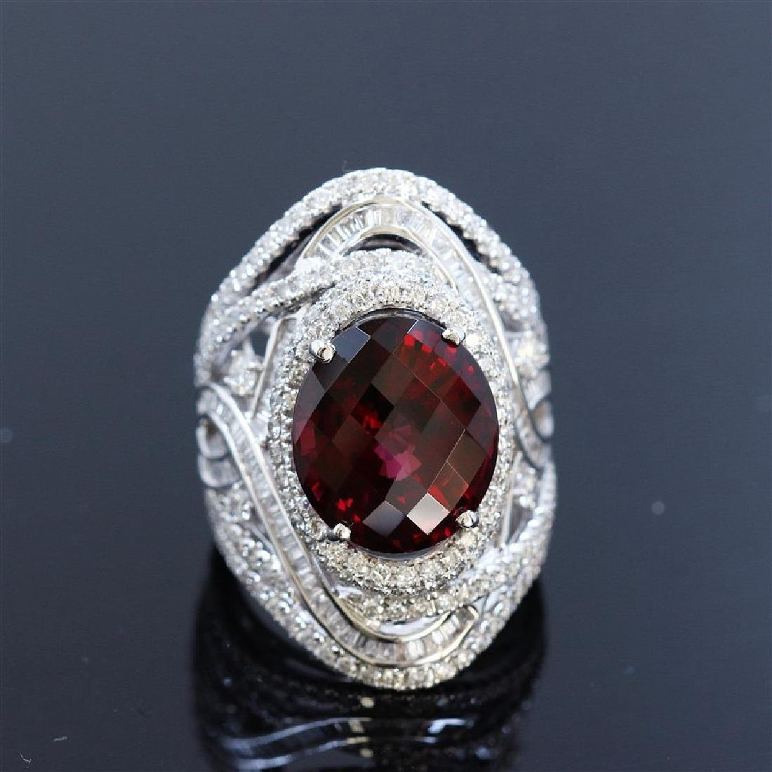 13.13ct Natural Malaya Garnet 18K White Gold Ring