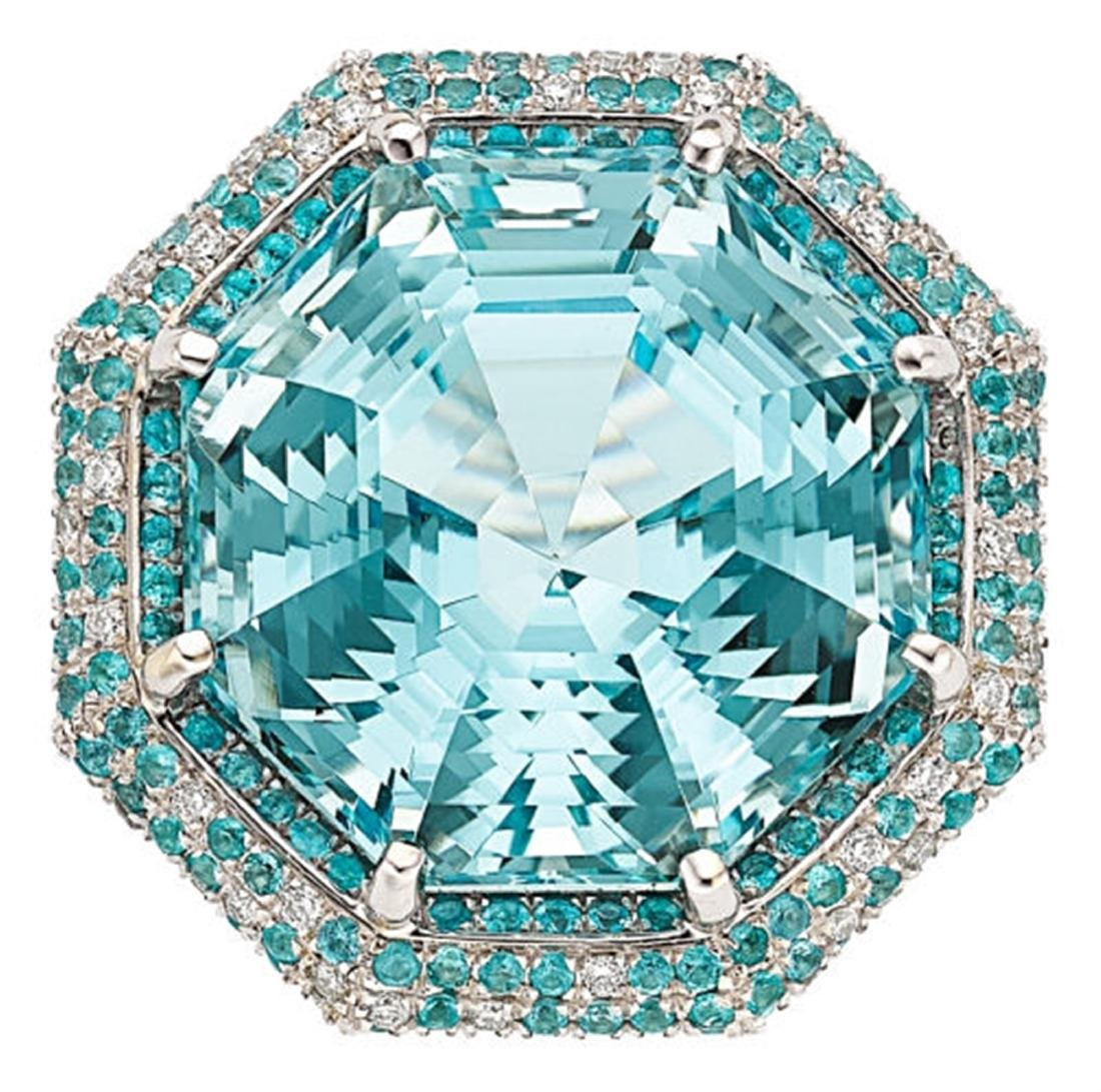 NATURAL 35.50CT AQUAMARINE / 1.40CT PARAIBA TOURMALINE