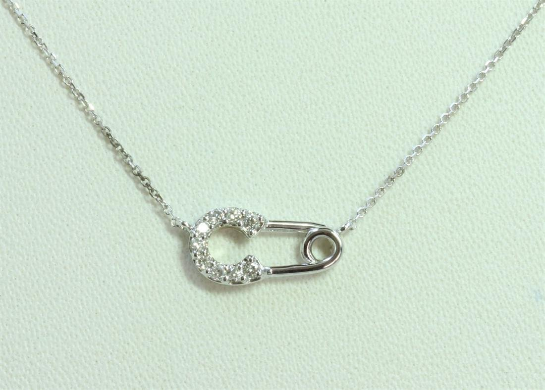 14K WHITE GOLD PENDANT WITH CHAIN 1.61g/Diamond 0.11ct