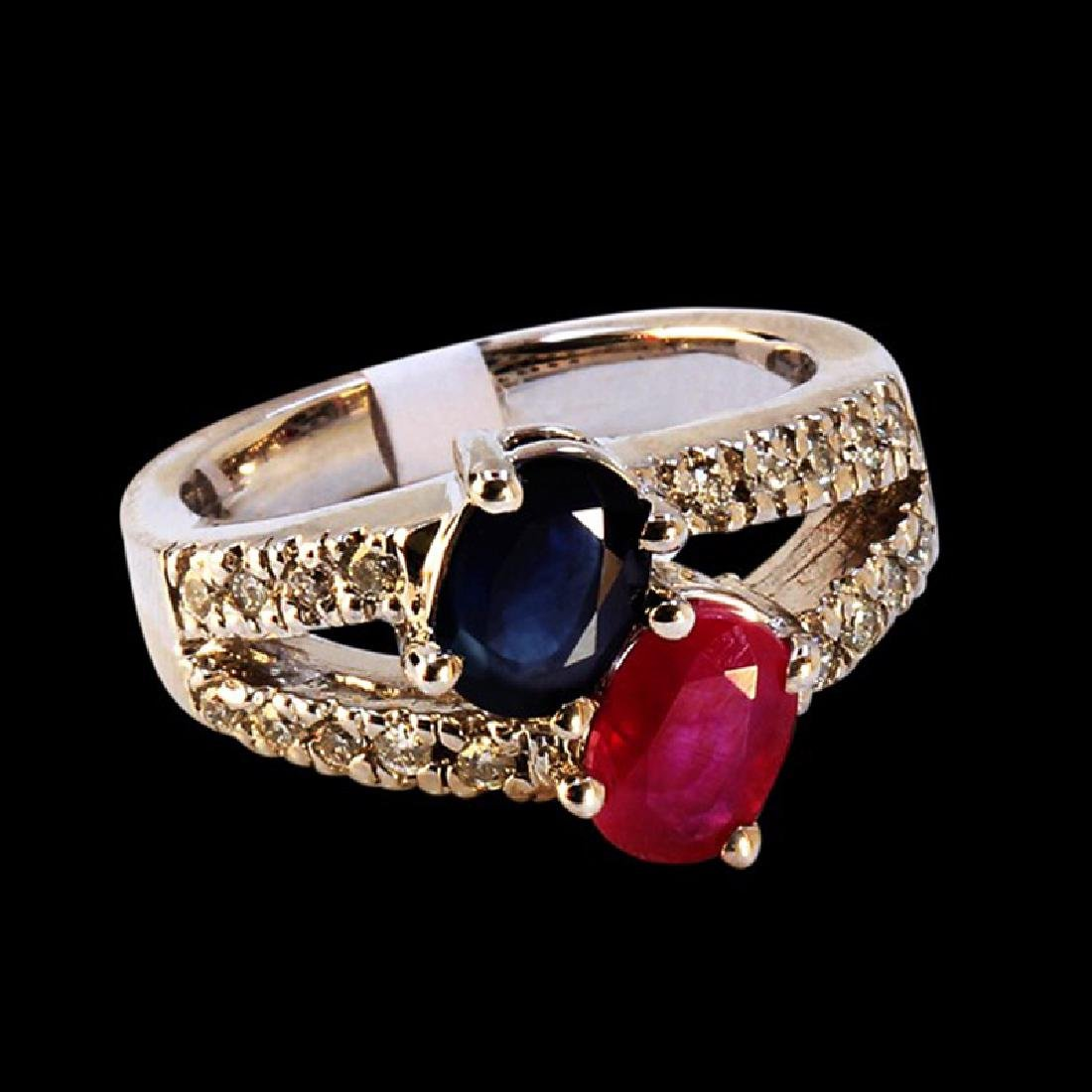 1.19CT NATURAL BLUE SAPPHIRE AND RUBY 14K WHITE GOLD
