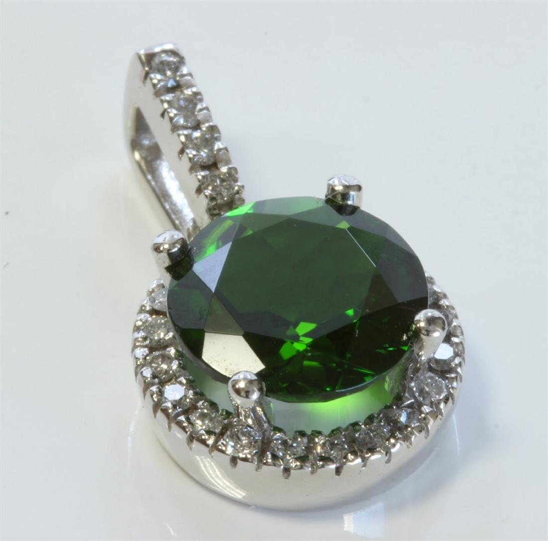 14K White Gold Chrome Diopside