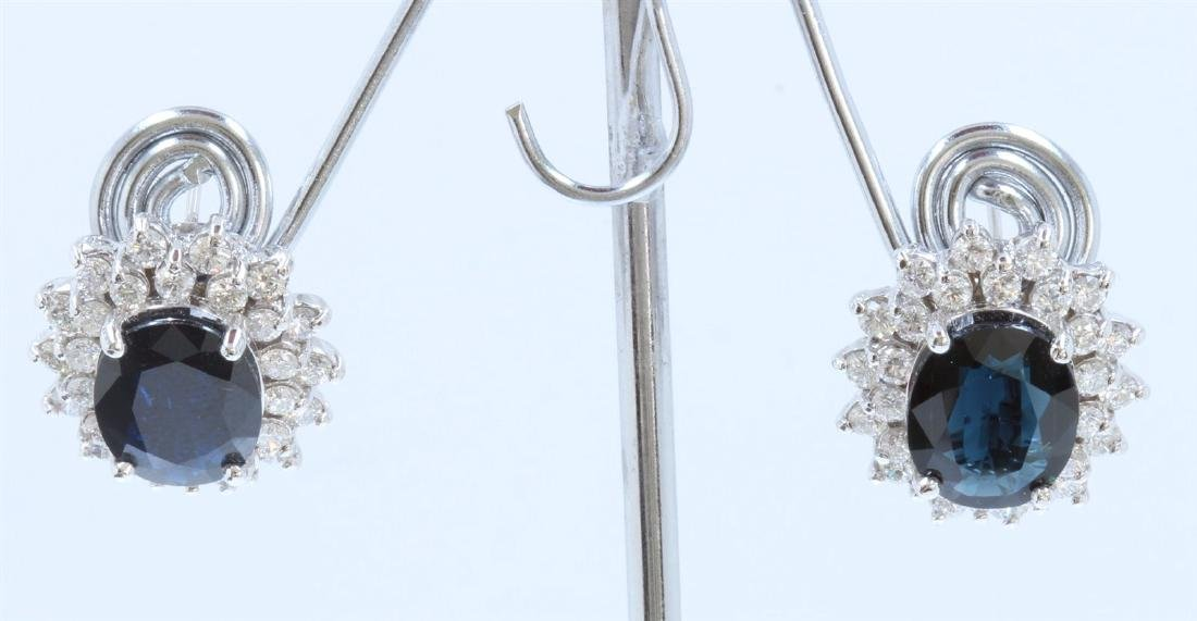 14K WHITE GOLD  EARRING:10.7g/Diamond:2.69ct/BLUE