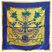 Hermes Vintage Parures des Sables Silk Scarf in Blue