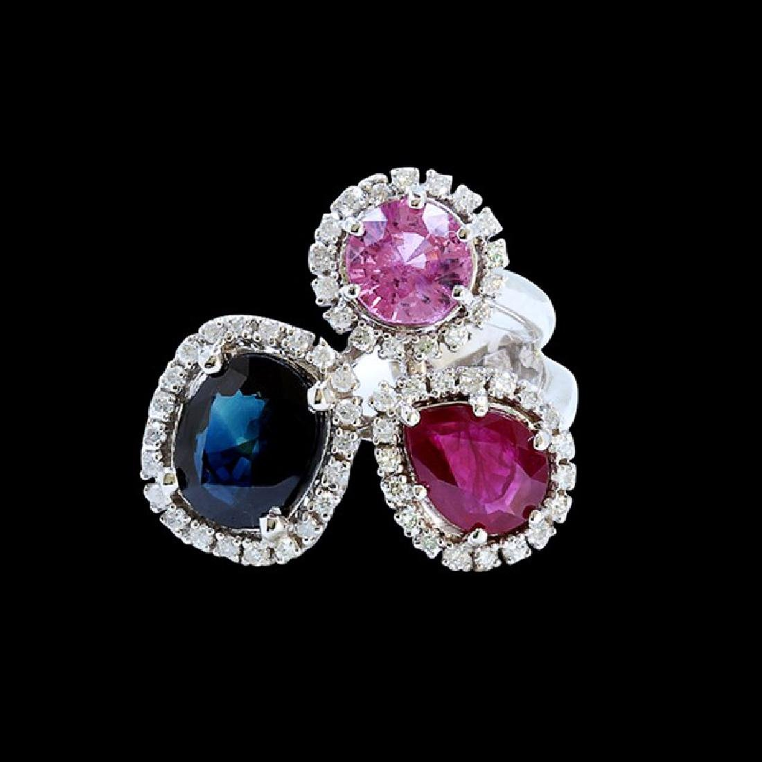 NATURAL 2.29CT CEYLON PINK SAPPHIRE AND 1.30CT RUBY 14k