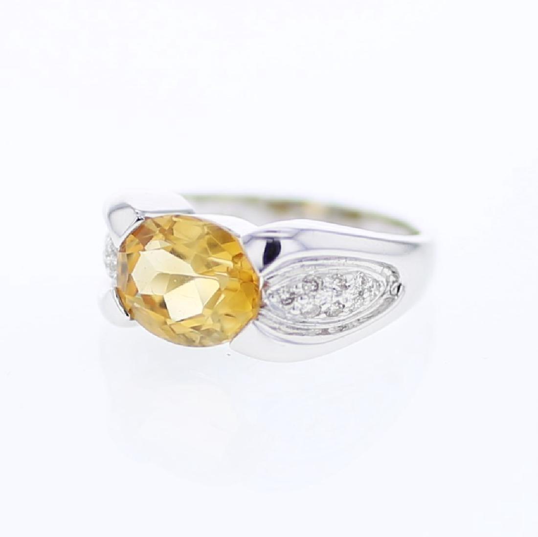 3.2ct Citrine 14K White Gold Ring