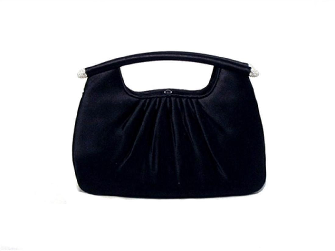 Judith Leiber Black Satin Evening Bag