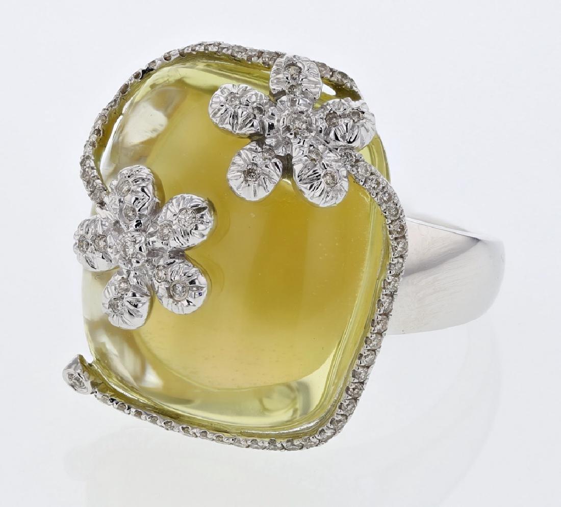 27.86ct Quartz 14K White Gold Ring