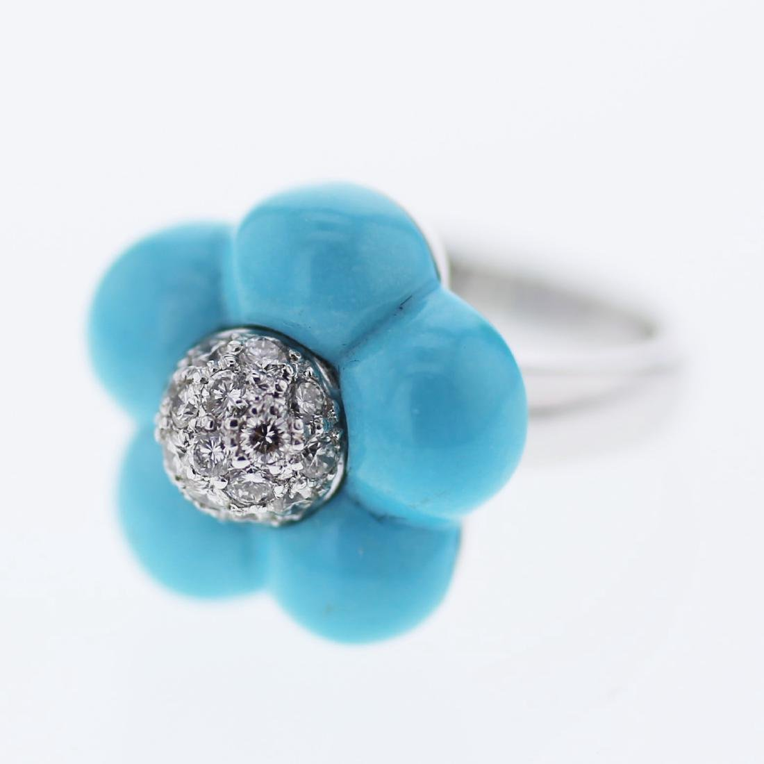 6.68ct Turquoise 18K White Gold Ring
