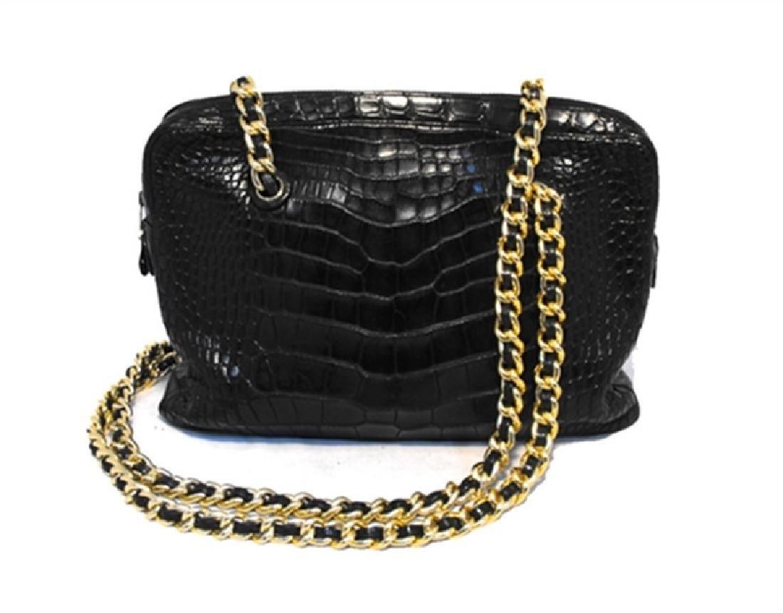 Judith Leiber Black Alligator Shoulder Bag