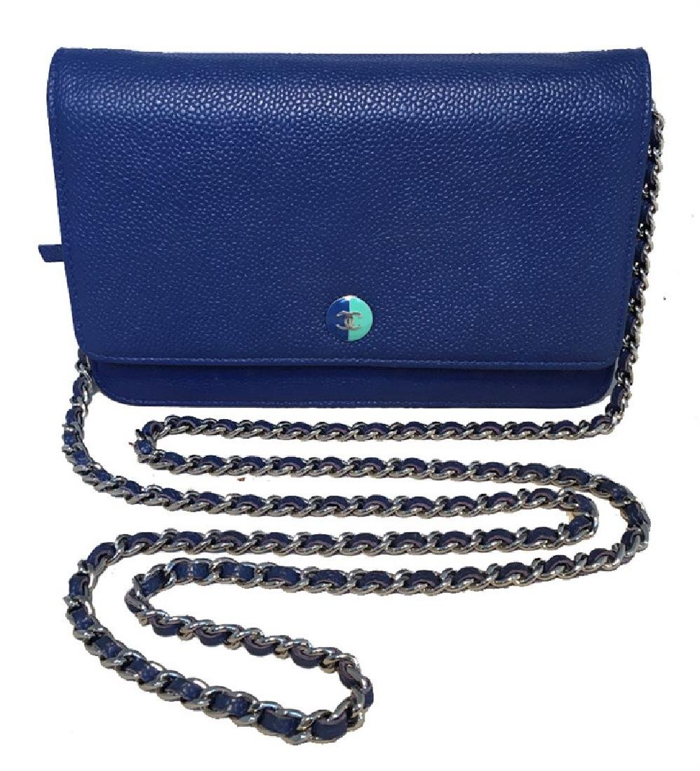 Chanel Blue Caviar Leather Wallet on a Chain WOC