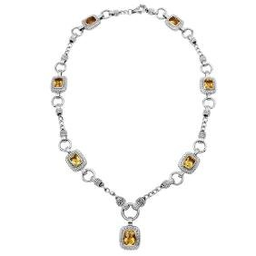 10.48ct Citrine 14K White Gold Necklace