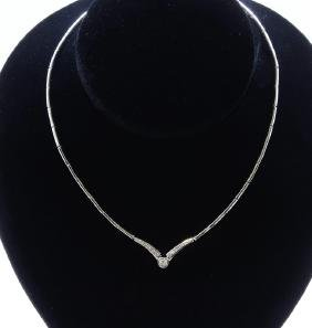 18K White Gold Necklace/Diamond- 0.39ct/Gold- 22 Grams