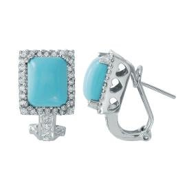 4.88ct Turquoise 14K White Gold Earring