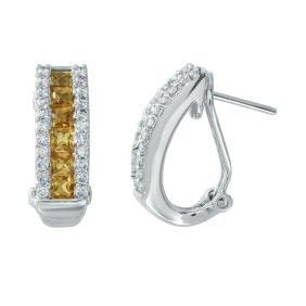 1.4ct Sapphire 14K White Gold Earring