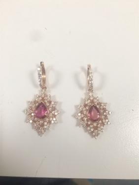 Natural Pink Tourmaline 3 CT Ring, Diamond 2.25 CT 14K
