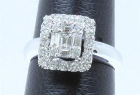18K WHITE GOLD  DIAMOND RING:72.60 GRAMS/DIAMOND:0.87CT