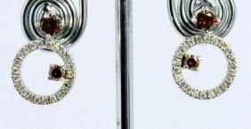 14K WHITE GOLD EARRING 3.70GRAM  DIAMOND 0.35CT/ BROWN