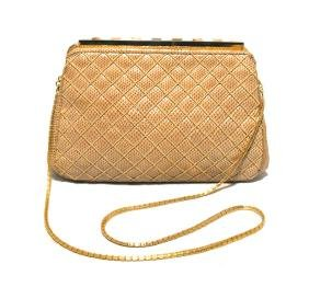 Judith Leiber Vintage Tan Quilted Lizard & Abalone