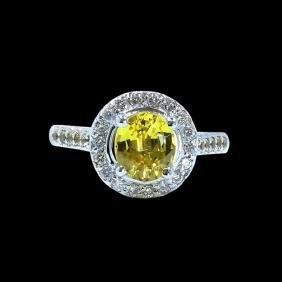 Gia 2.32ct Natural Ceylon Yellow Sapphire 14k White