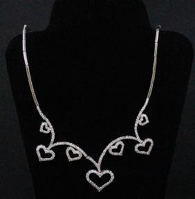 18k White Gold Diamond Necklace; Gold-23.59 Grams;