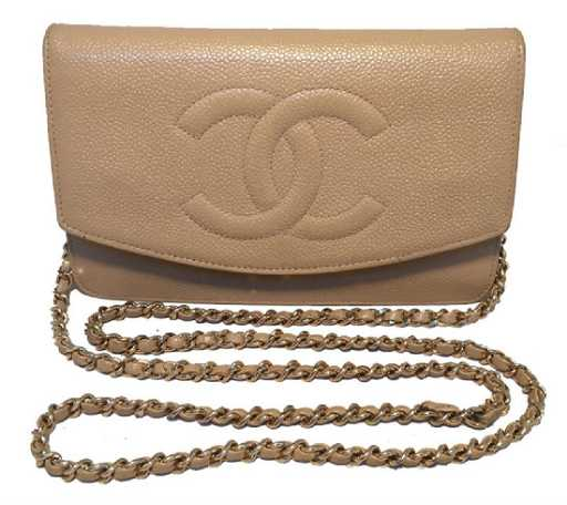 5f3049d82bce1c Chanel Vintage Nude Caviar Leather Wallet on Chain WOC