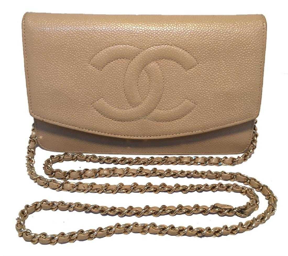cc43e03135b3 Chanel Vintage Nude Caviar Leather Wallet on Chain WOC