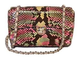 Chanel Multi Color Python Snakeskin Mini Classic Flap