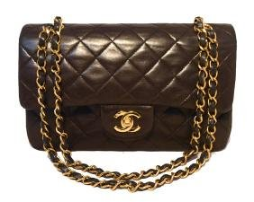 "Chanel Black Brown Quilted Leather 9"" Double Flap"
