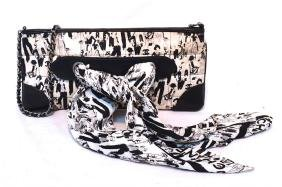 Chanel Black And White Quilted Satin Mademoiselle Scarf