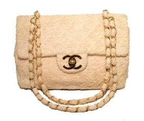 Rare Chanel Beige Terry Cloth Maxi Flap Classic