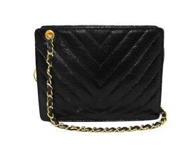 Chanel Black Lizard Chevron Quilted Shoulder Bag