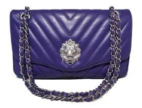 Chanel Purple Lambskin Leather Lions Head Classic Flap