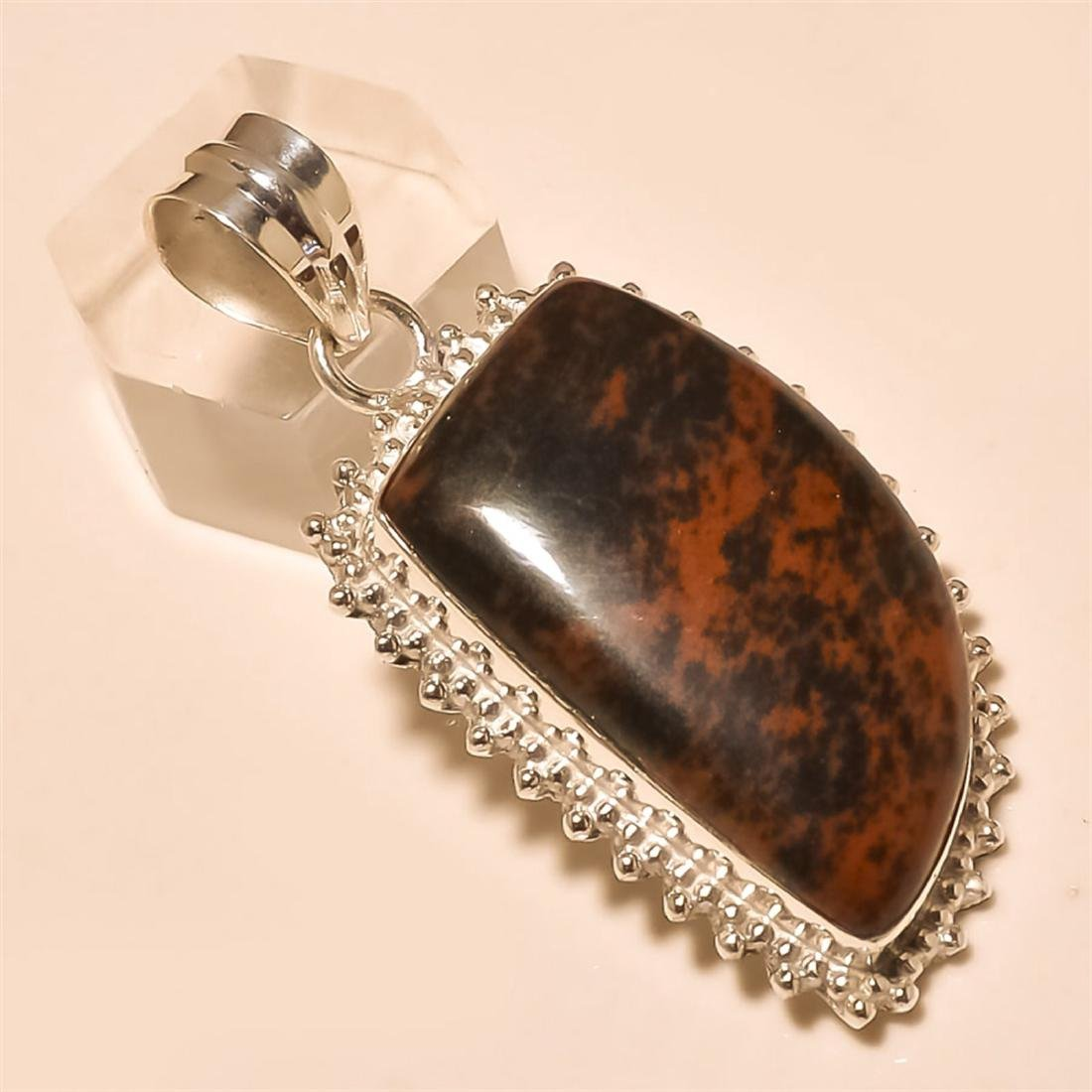 Red Obsidian Pendant Solid Sterling Silver