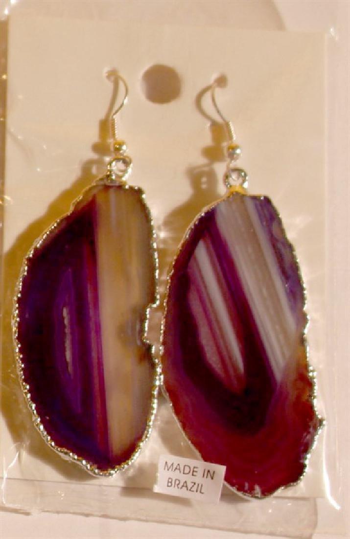 1700 Sp Agate Slice Plated Purple Sp Earring Jewelry