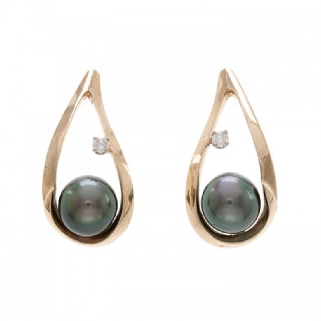 7.5-8.0mm Tahitian Black Earrings with Diamonds