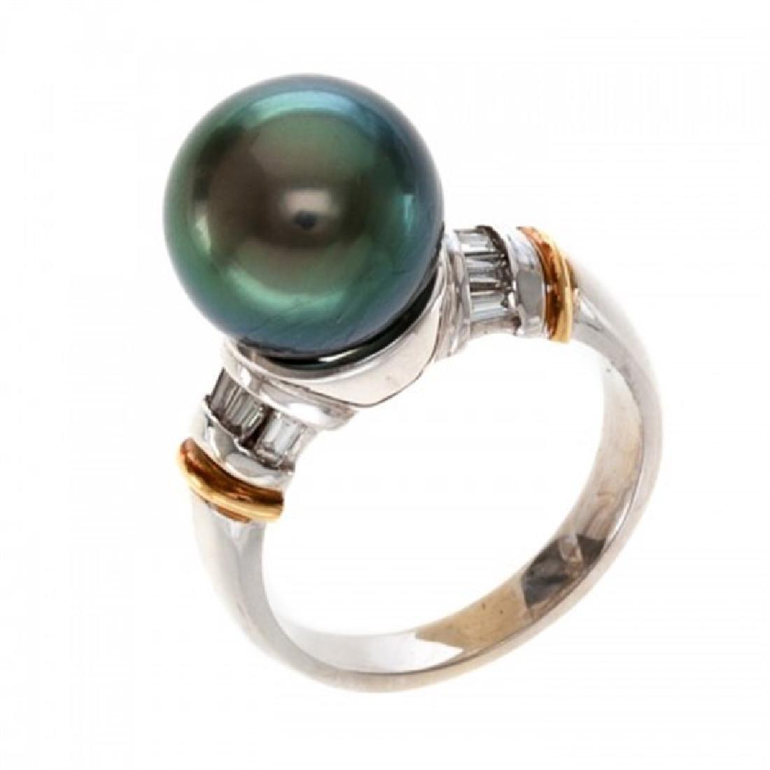 11.0-11.5mm Tahitian Black Pearl Ring with Diamonds