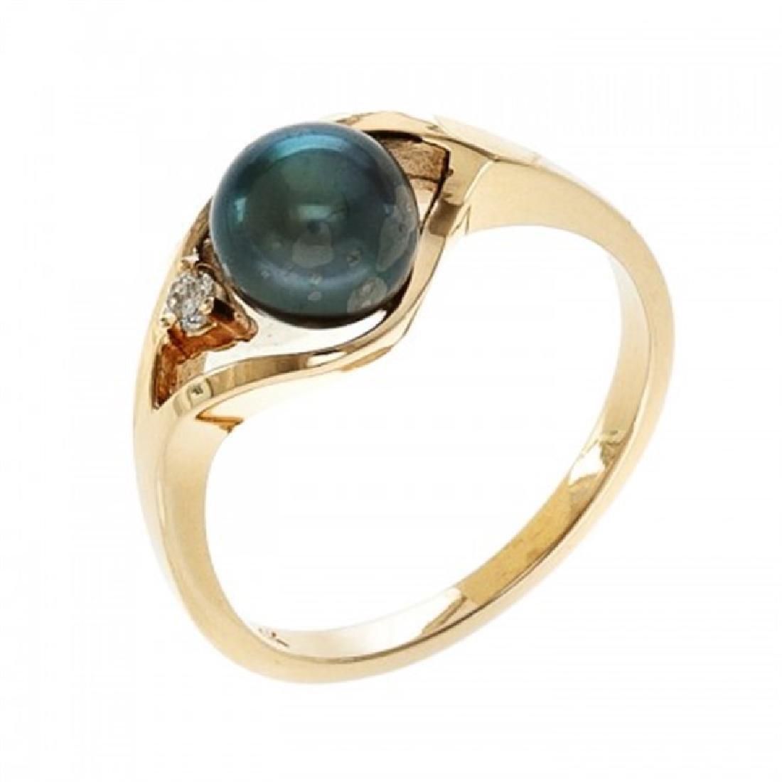 6.5-7.0mm Japanese Akoya Pearl Ring with Diamond