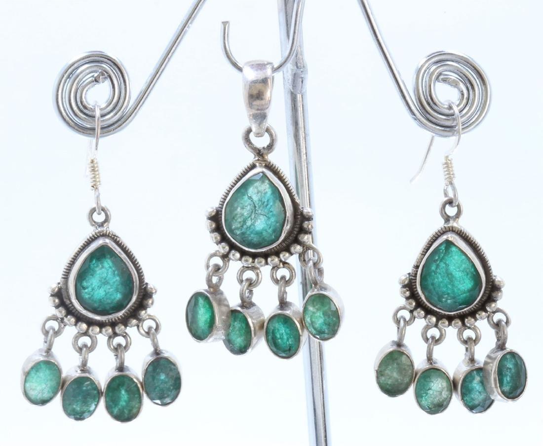 Sterling Silver .925 Emerald Beryl Earring 17.40g
