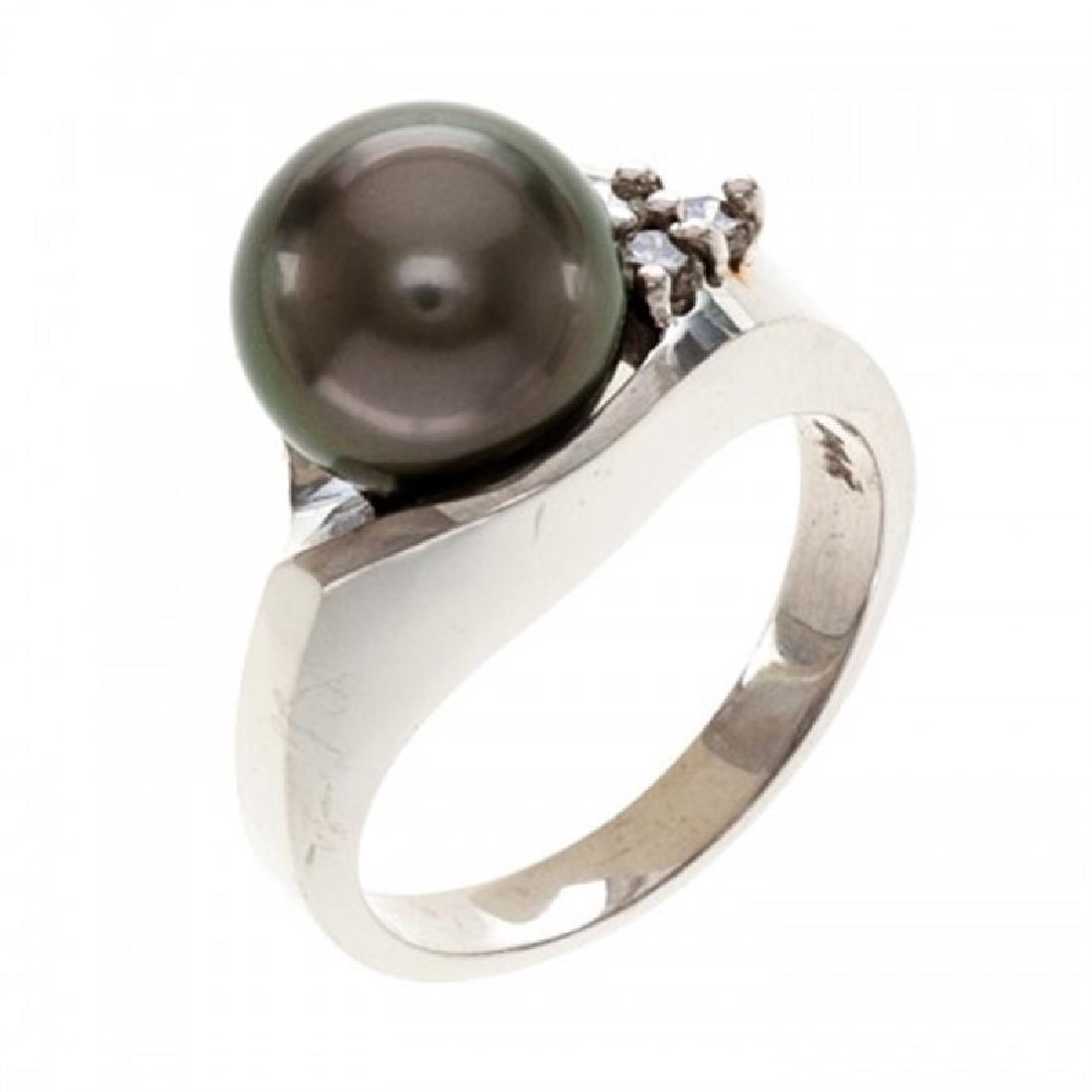 9.5-10.0mm Tahitian Black Pearl Ring